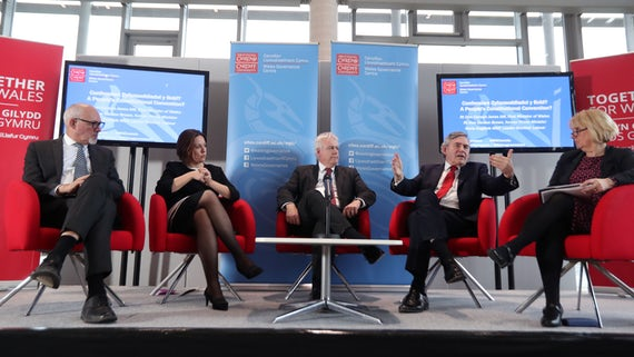A panel of five Labour politicians sit on the stage
