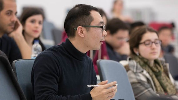 Student in a talk