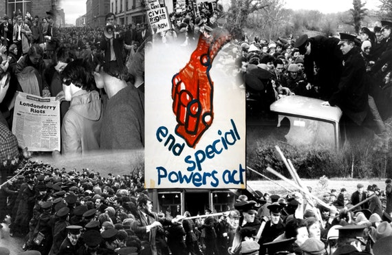 Montage of black and white photos showing protesters