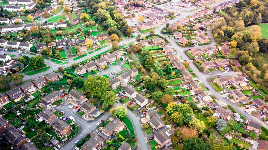 English housing estate from the air