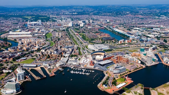 Aerial shot of Cardiff
