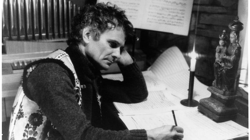 Peter Maxwell Davies at a desk