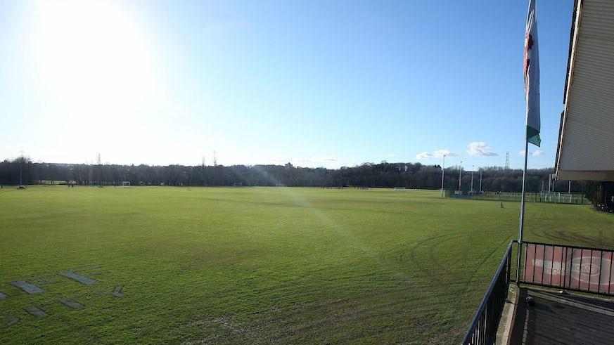 Cardiff University sports fields from pavilion
