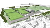 An architect's drawings of plans for new sports facilities at Llanrumney