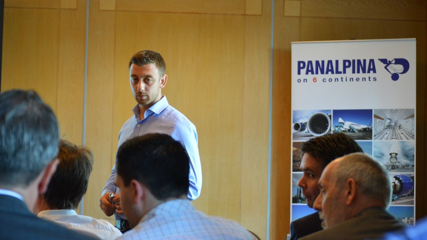 Image of speaker and delegates at Panalpina conference