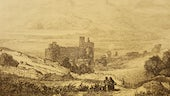 Castell Harlech, yn llyfr George John Bennett, 'The pedestrian's guide through North Wales' (1838)