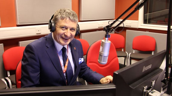 Ambassador Neskovic in Cardiff University's radio studio.
