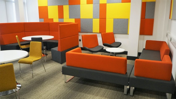 Learning space refurbished in bright colours, Queen's Building, Cardiff University