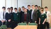 Dr Einion Dafydd and the Secretary of State for Wales, the Rt. Hon. Alun Cairns MP with pupils from Barry Comprehensive School
