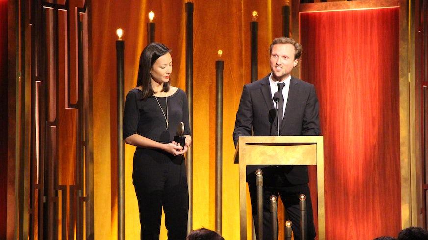 CU graduate Joanna Natasegara and Orlando von Einsiedel at the 74th Annual Peabody Awards