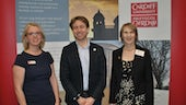 Dr Sara Drake with speaker Adam Wagner and June Milligan, Equality and Human Rights Commissioner for Wales.