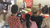Professor Judith Hall talking to press
