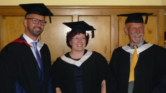 Three Cardiff University graduates who took the Exploring the Past pathway programme.