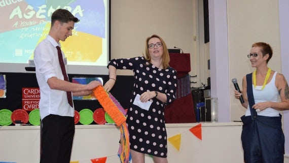 Kirsty Williams, Cabinet Secretary for Education, receives messages from primary school pupils