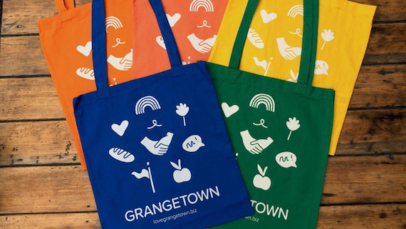 Colourful Grangetown shopping bags