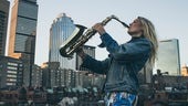 Florence Pugh Saxophonist