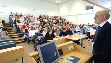 Mathematics lecture room with students