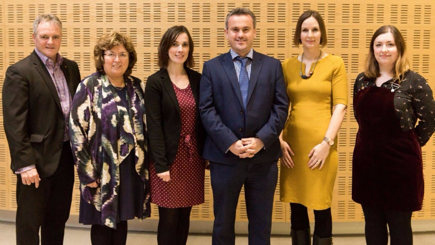 Group image of (from left to right) Eryl Jones, Janet Davies, Angharad Naylor, Dylan Foster Evans, Eleri James, Manon Humphreys at the launch of the new BA Welsh and the Professional Workplace