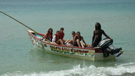 Students on a boat in Tobago