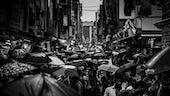 Crowded street in rain