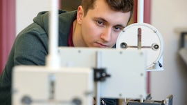 A student working in the undergraduate laboratory.