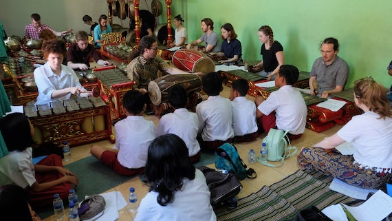 Gamelan ensemble performing in Pangudi Luhur primary school, Surakarta, Java