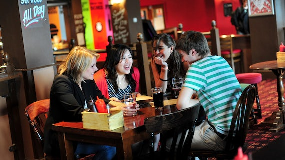 Students in student union bar