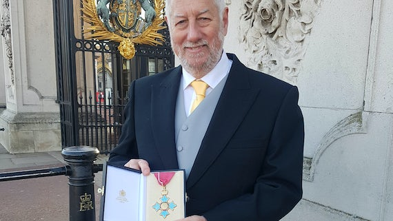 Prof Hutchings with CBE