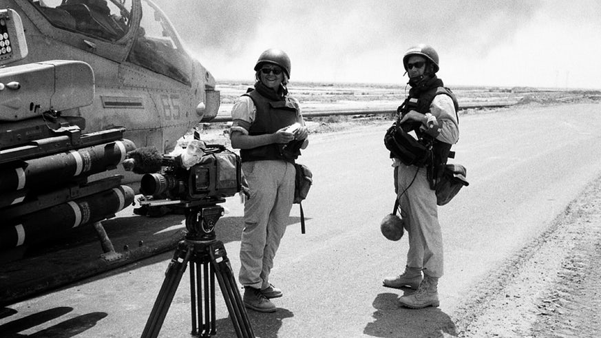 Documentary producer Dr Janet Harris (left), pictured in Iraq in 2003.
