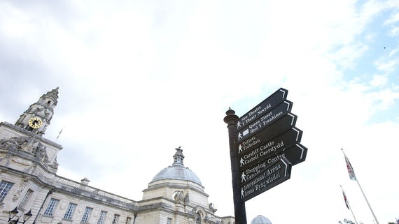 Sign outside Cardiff city hall
