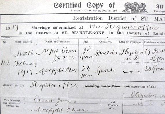 Morfydd Owen's marriage certificate