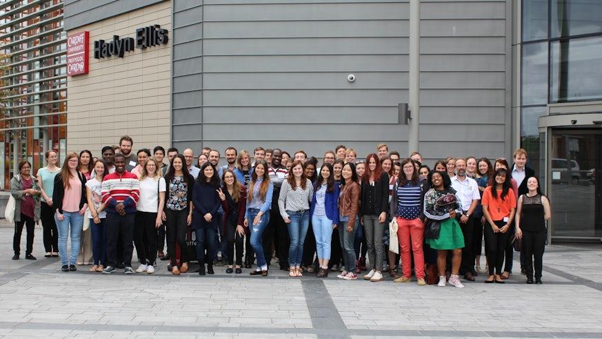 Photograph of Summer School delegates outside the Hadyn Ellis Building