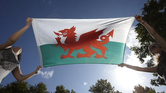 Students with Welsh flag