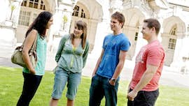 Students outside Main building.