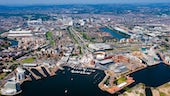 Aerial shot of Cardiff City region
