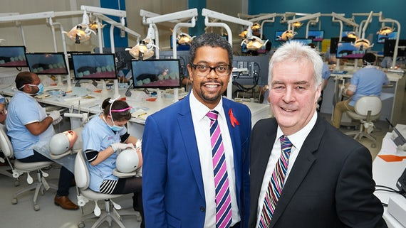 Vaughan Gething AM and Prof. Mike Lewis in dental simulation suite