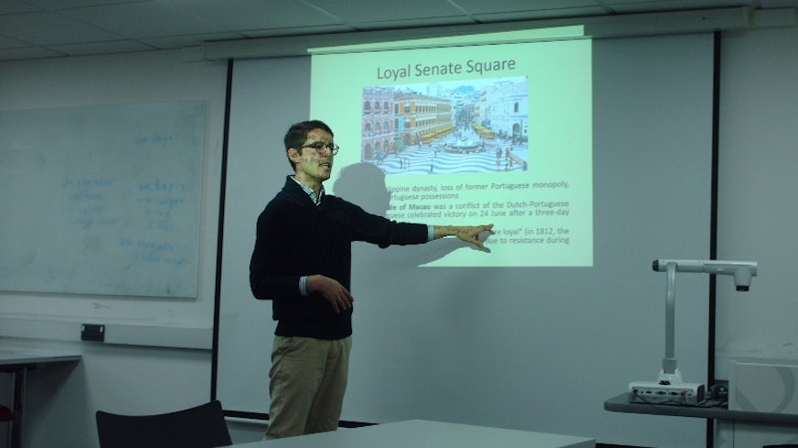 Dr Gonçalo Cordeiro of the University of Macau during his visit to the School of Modern Languages.