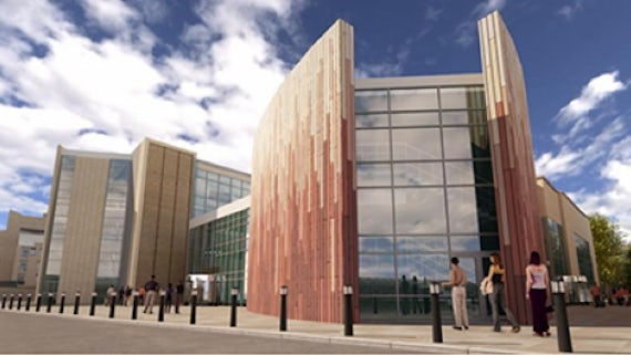 Artist's impression of exterior of Cardiff Business School Postgraduate Teaching Centre