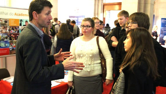 Professor Philip Davies with students at Careers Science Fair