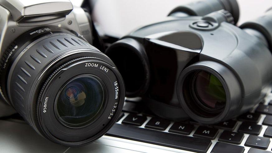A digital camera and binoculars