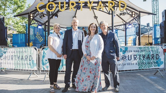 Sara Pepper, Professor Colin Riordan, Fiona Stewart and Professor Ian Hargreaves at Courtyard Beer Festival