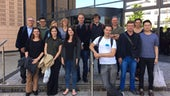 Group image of Brazilian delegation of students outside Cardiff Business School