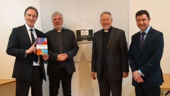 Professor Norman Doe (far left) pictured with Revd Canon Andrew Featherstone (Chancellor), Very Revd John Davies (Dean), and Christopher Jones (Partner, Harris and Harris).