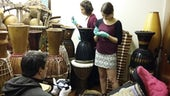 Conservation students begin work on the African Drumming project for the University's School of Music