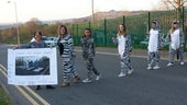 Young people from Merthyr Tydfil dressed in zebra onesies