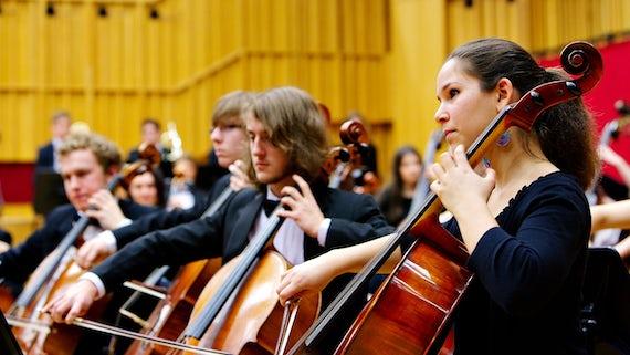 Cardiff University Symphony Orchestra playing in Cardiff's Hoddinott Hall