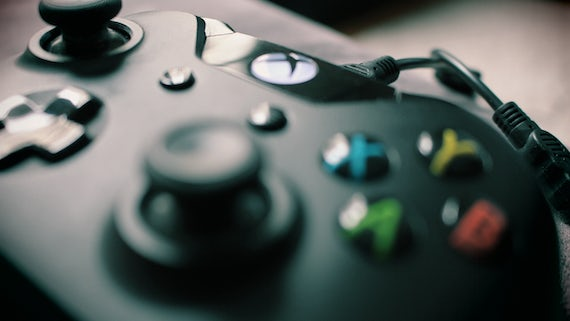 Close up photograph of an Xbox One controller