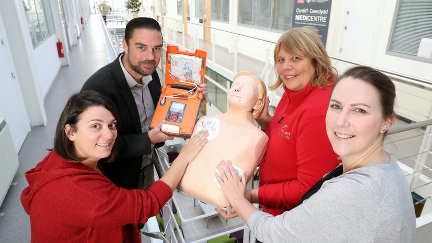 Cardiff Medicentre staff with defib machine