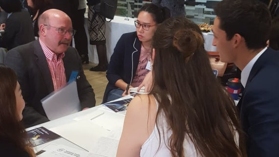 students speak to Welsh business leader