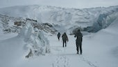 Greenland research team walking to portal